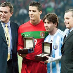 Cristiano y Messi, cara a cara en Old Trafford