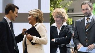 El corazón `partío´de Aguirre entre las excelencias de Casado y los 'méritos' de Abascal