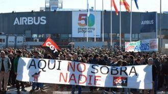 Paros y una gran manifestación en Madrid para salvar 630 empleos en el gigante Airbus
