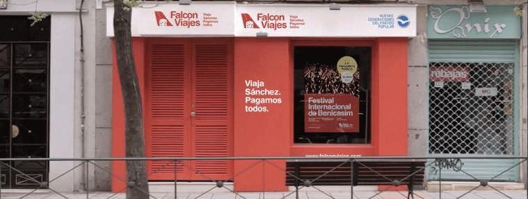 El PP ataca y abre su `Falcon Viajes´ junto a la sede del PSOE en Ferraz