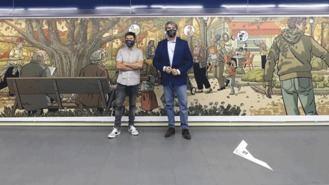 Un mural en la estación de Metro de Plaza de Castilla homenajea a los mayores