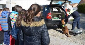Los escolares aprenden educación vial con la patrulla canina