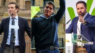 Casado, Rivera y Abascal se lanzan a la conquista de Madrid y abren campaña en la capital