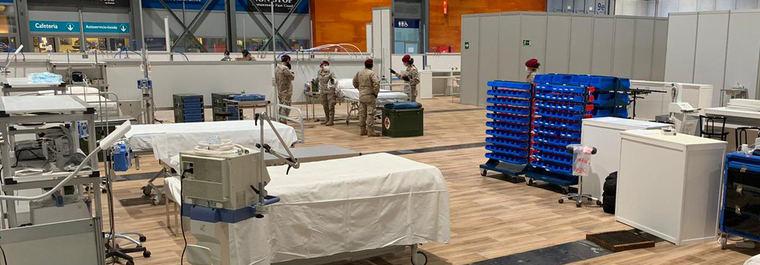 Unidades médicas de la UMAAD despliegan la primera sala UCI de Ifema
